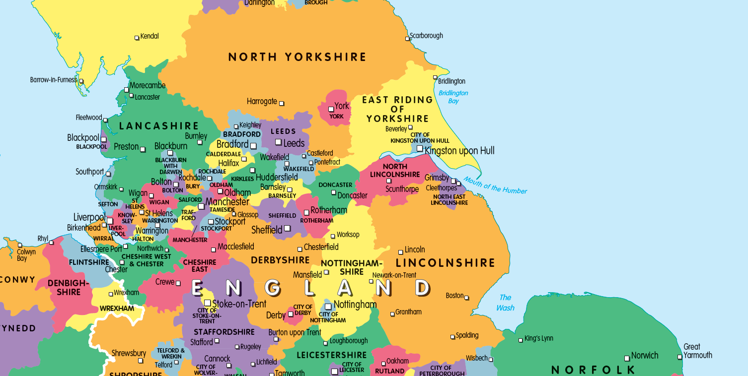 United Kingdom counties and regions map - small