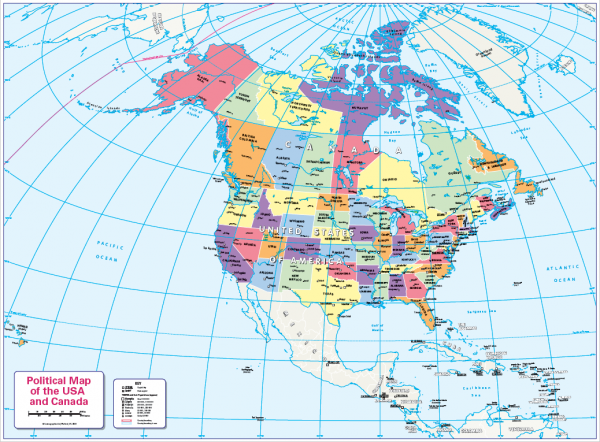 Colour blind friendly map of Canada and the USA