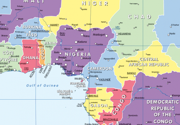 Colour blind friendly Political map of Africa