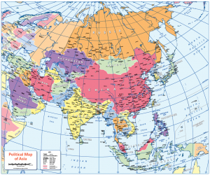 Colour blind friendly Political map of Asia