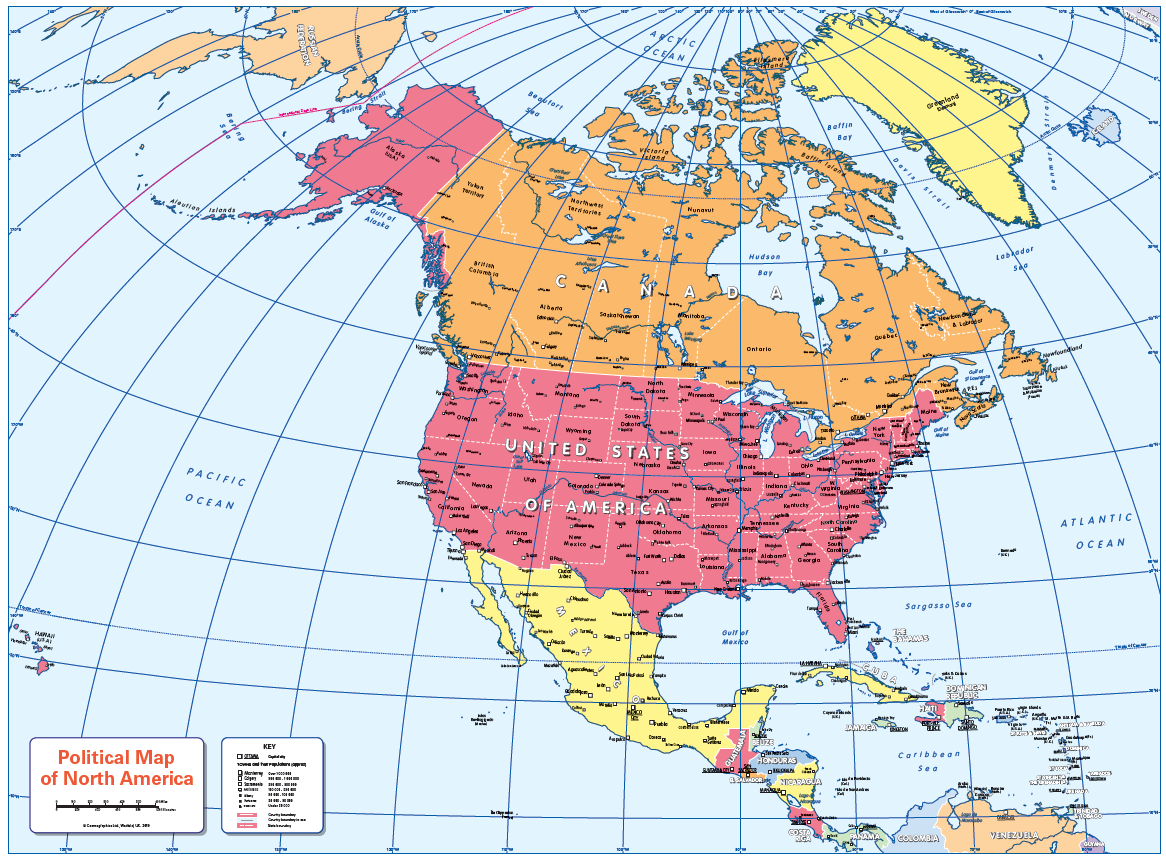 Political map of North America - small wall map