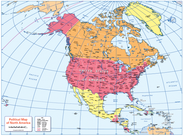 Colour blind friendly Political map of North America