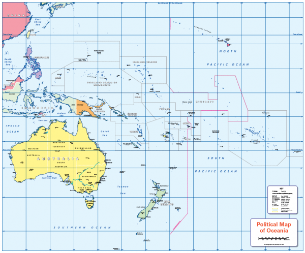 Colour blind friendly Political map of Oceania