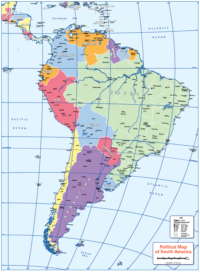 Political map of South America - small wall map