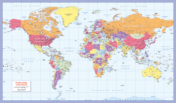 Colour blind friendly Political World Map (large)