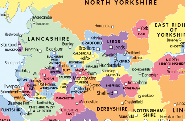 Colour blind friendly counties map of the United Kingdom