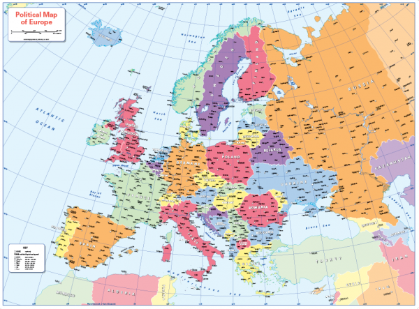 Colour blind friendly Political map of Europe