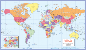 Colour blind Friendly political map of the World -small wall map