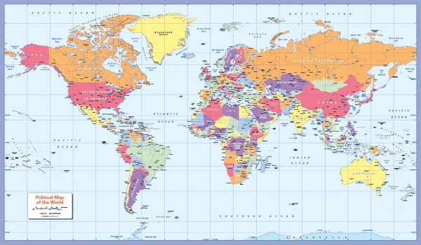 Canvas Colour blind friendly World Map - huge (UK free delivery)