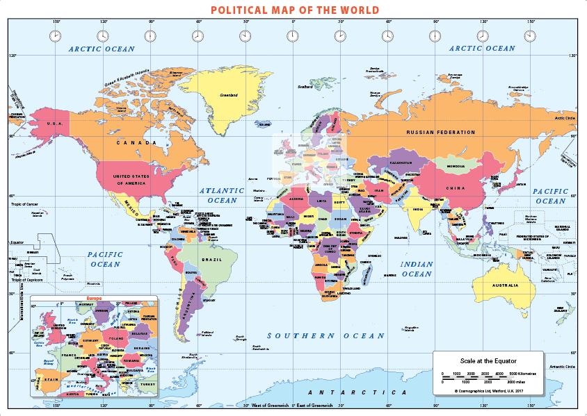 Political World Map- self adhesive textile