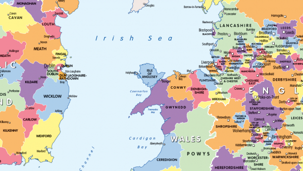 Counties and Regions map of the British Isles