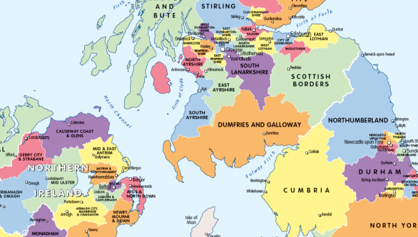 Counties and Regions map of the British Isles - small