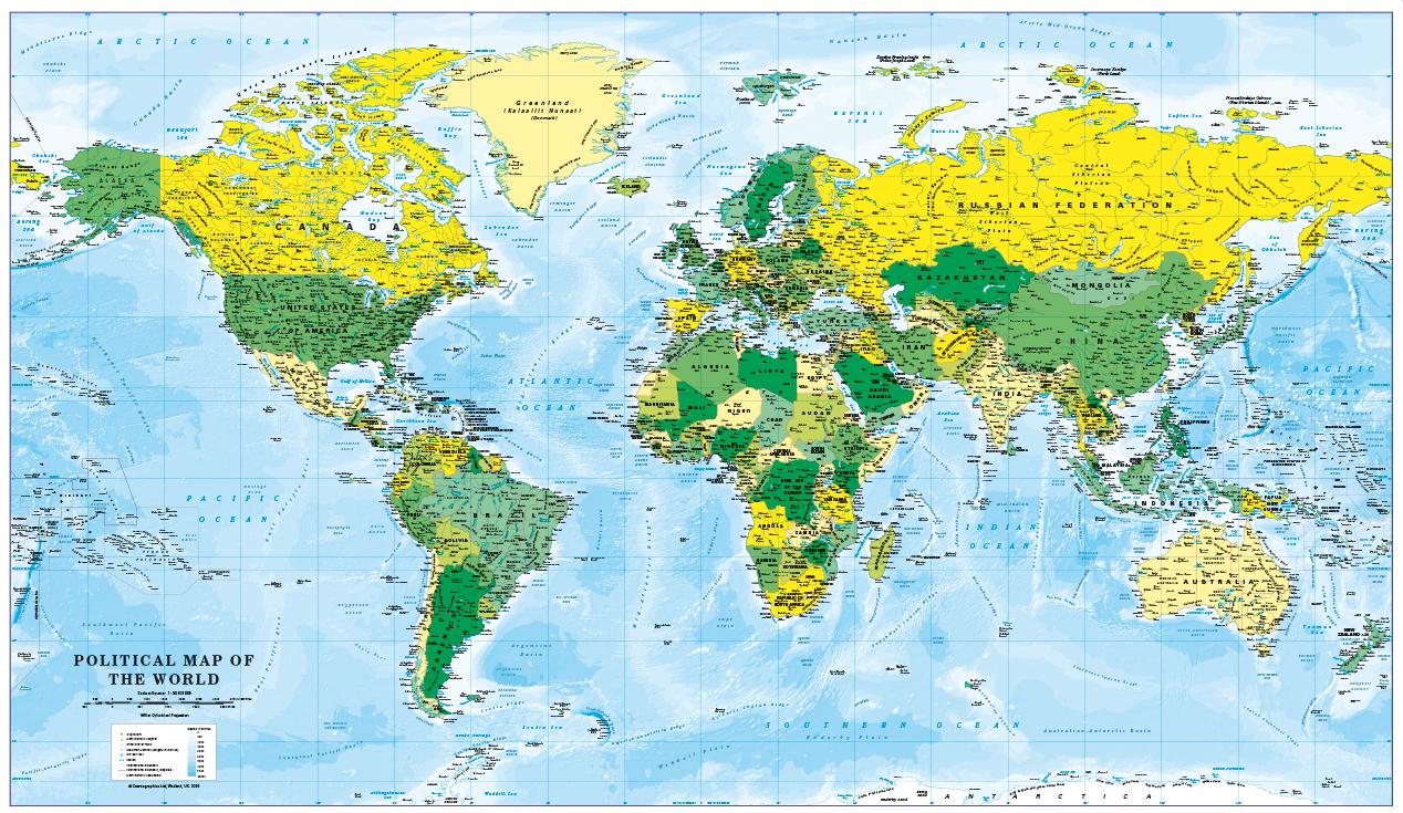 World Map decor - blue and purple