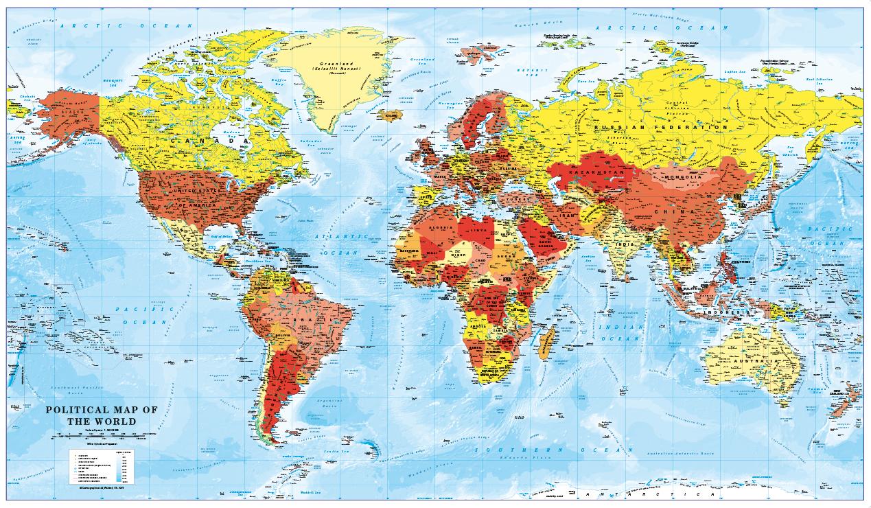 World Map decor - red, orange and yellow (large)