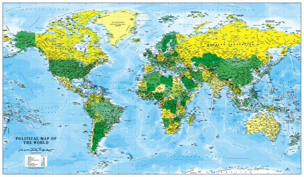 Canvas World Map - green and yellow (UK free delivery)