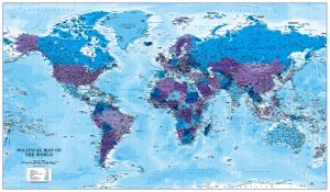 Canvas World Map - blue and purple (UK free delivery)