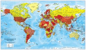 Canvas World Map - red, orange and yellow (UK free delivery)
