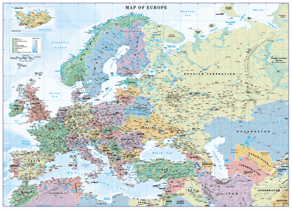 Europe Map Scale 1:10 million