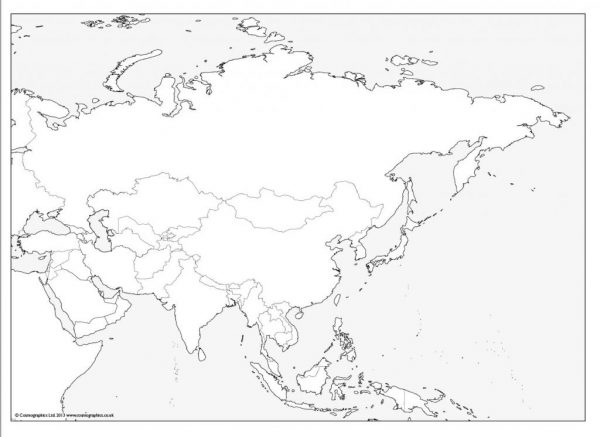 Free outline Map of Asia