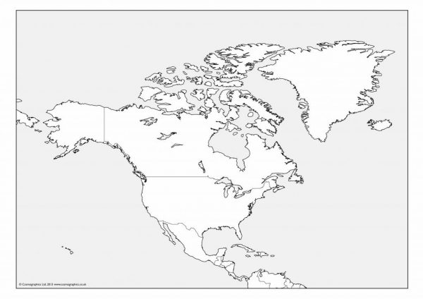 Free outline Map of North America