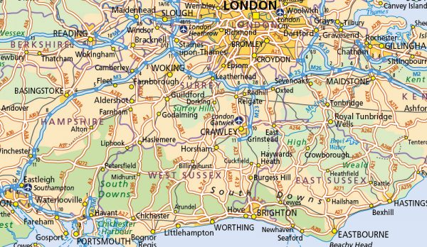 GB Map with distance chart and Greater London