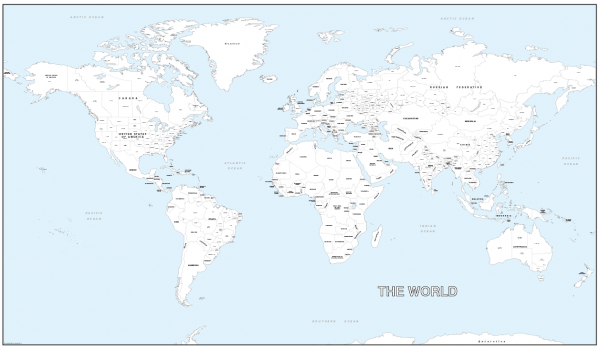 Giant detailed world colouring map