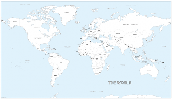 Giant world colouring map