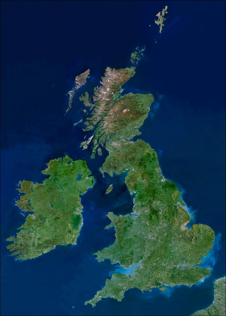 Satellite image of Great Britain