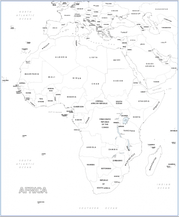 Large Africa colouring map
