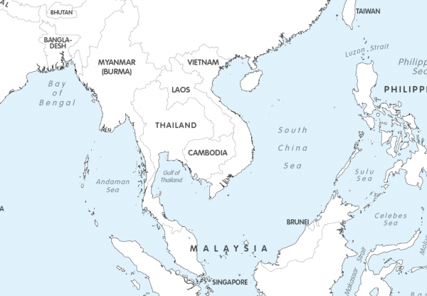 Large Asia colouring map