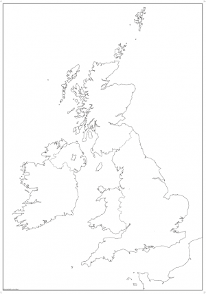 Large British Isles map outline with borders