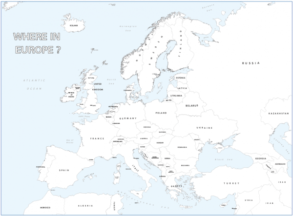 Large personalised Europe colouring map