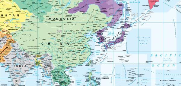 Large World Timezones Map - colour blind friendly