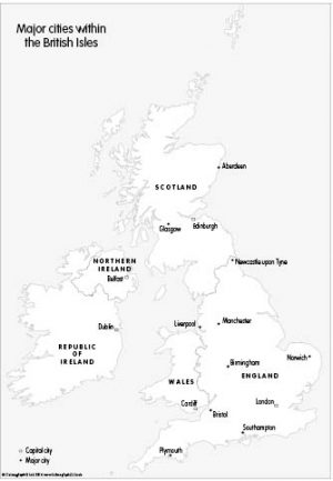 Major cities within the British Isles (set of 3)