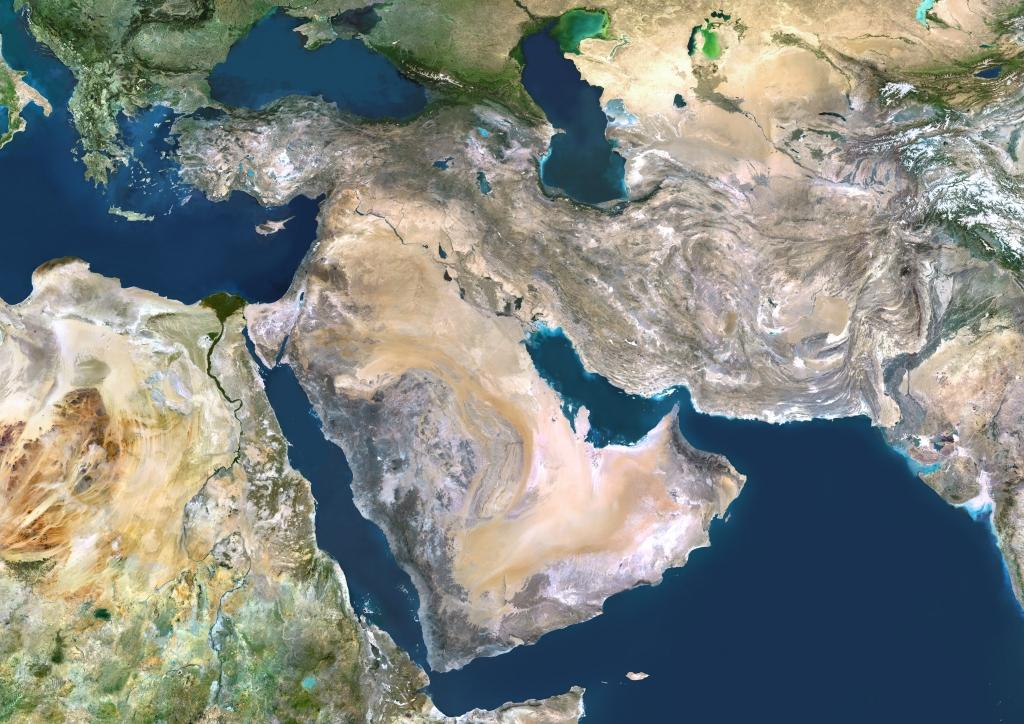 Satellite image of Middle East