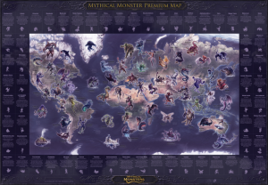 Mythical Monsters map (A0 SIZE) - PREMIUM EDITION