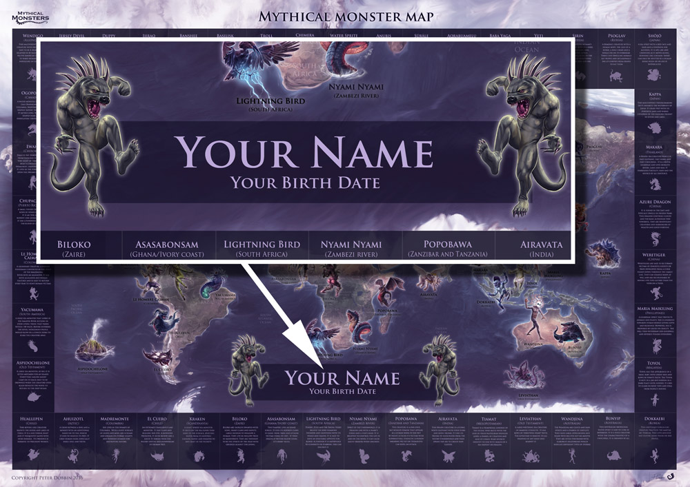 Mythical Monsters map -PERSONALISED TITLE + MONSTER (A1)