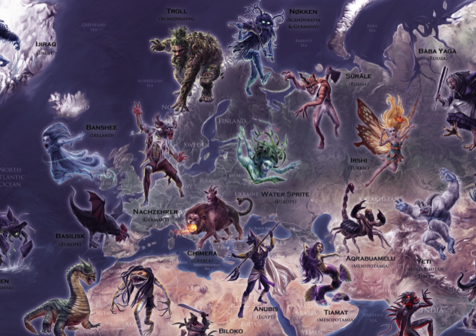 Mythical Monsters map (A2 SIZE)- PREMIUM EDITION