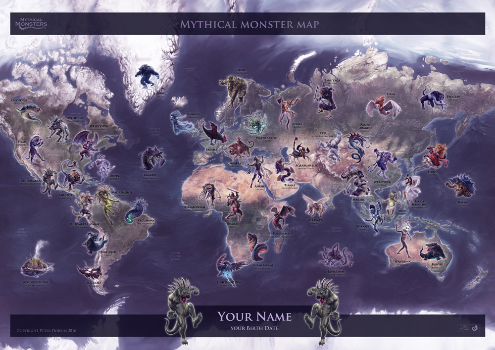 Mythical Monsters map -PERSONALISED TITLE + MONSTER (A2)
