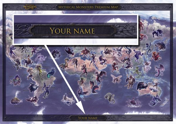 Mythical Monsters map - PERSONALISED TITLE (A2)
