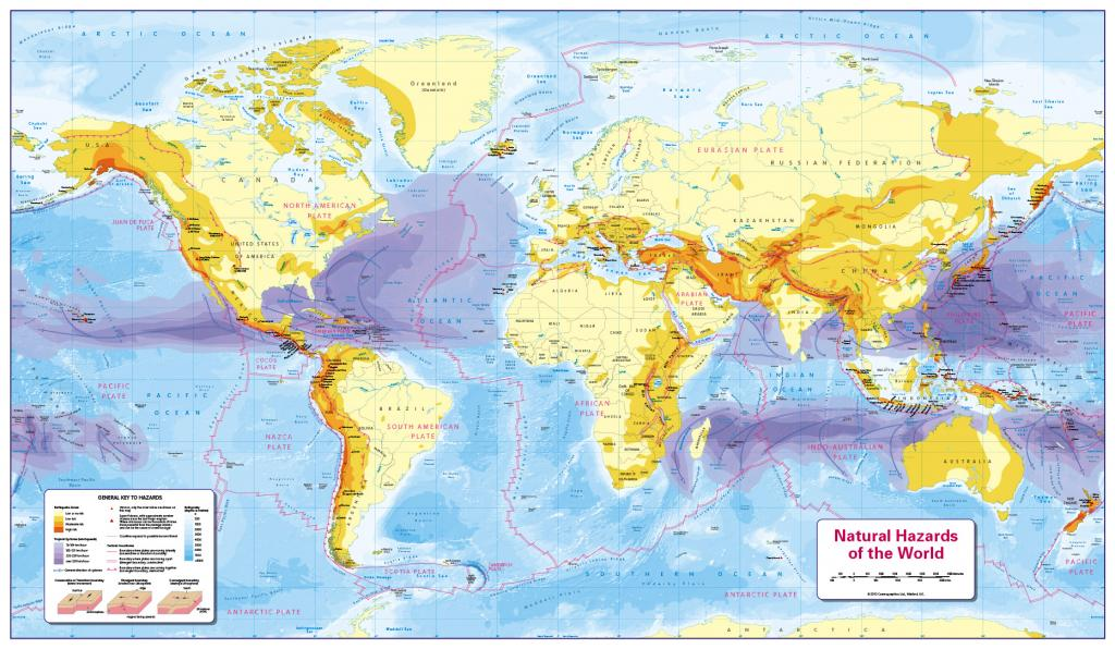 Natural Hazards of the World - small wall map