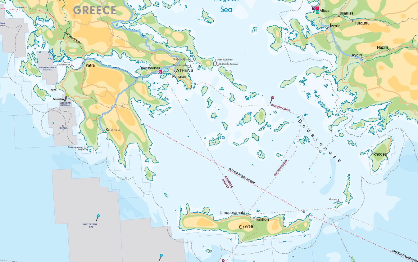 Offshore Mediterranean Oil and Gas Activity Map