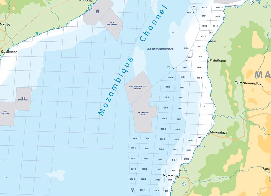 Offshore South and East Africa Oil and Gas Activity Map