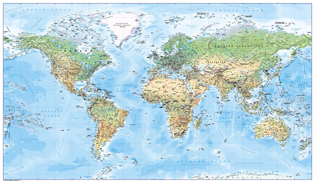 World map - natural colours (large)
