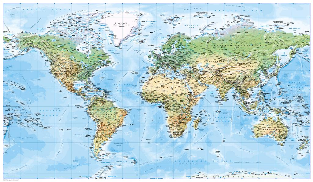 World map - natural colours