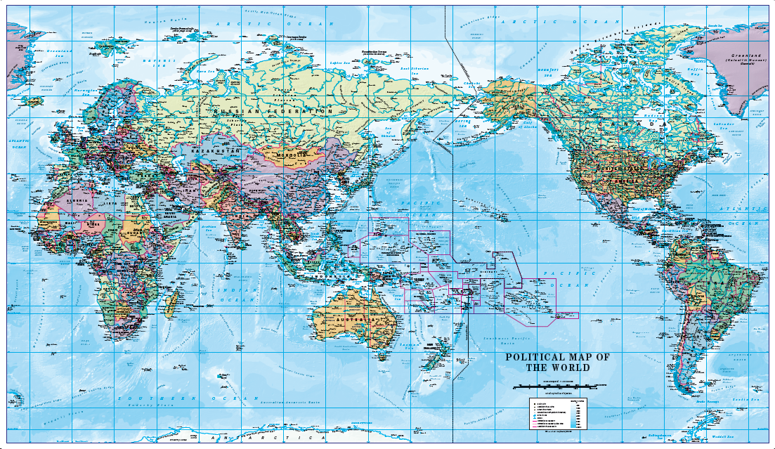 Pacific Centred World Political Map Scale 1:40 million