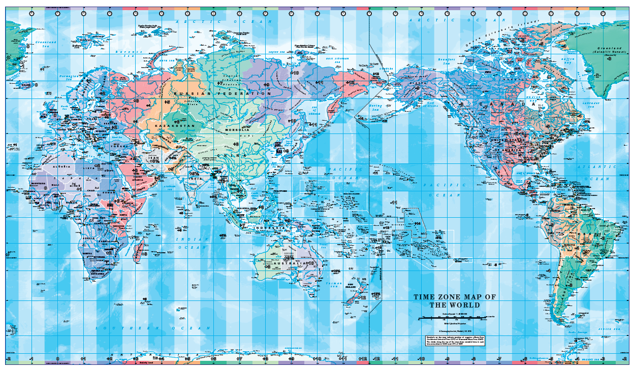 Pacific Centred World Timezones Map Scale 1:40 million