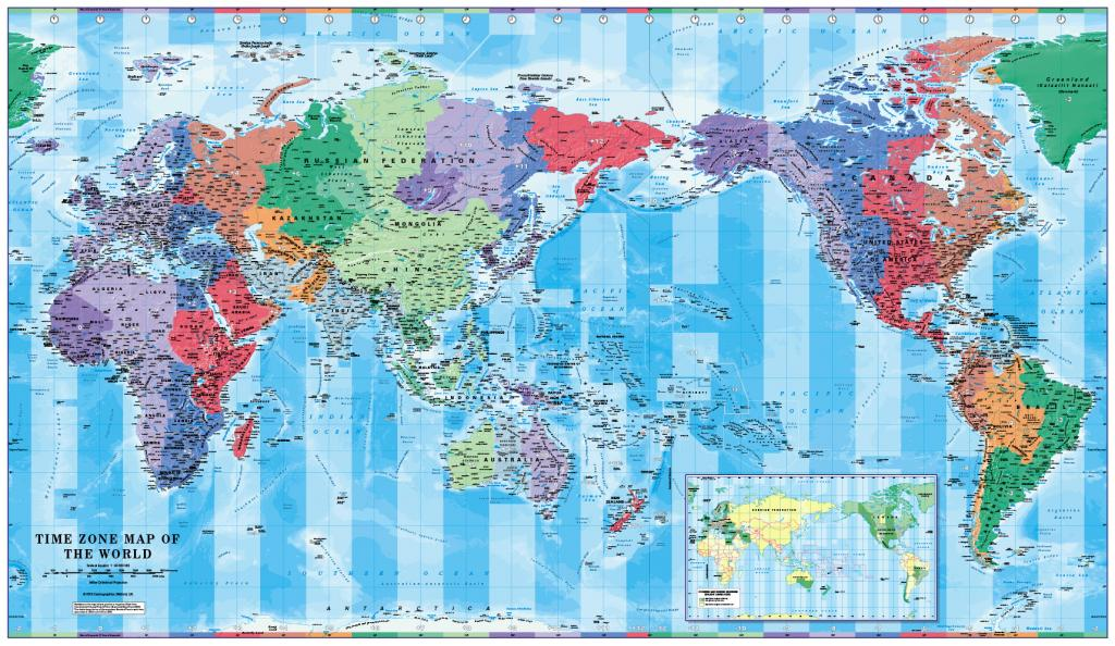 Pacific Centred World Timezones Map 1:30 million