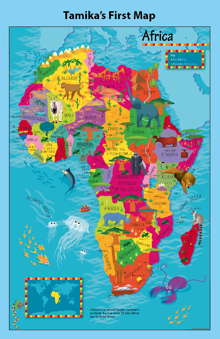 Personalised Children's Picture Africa Map