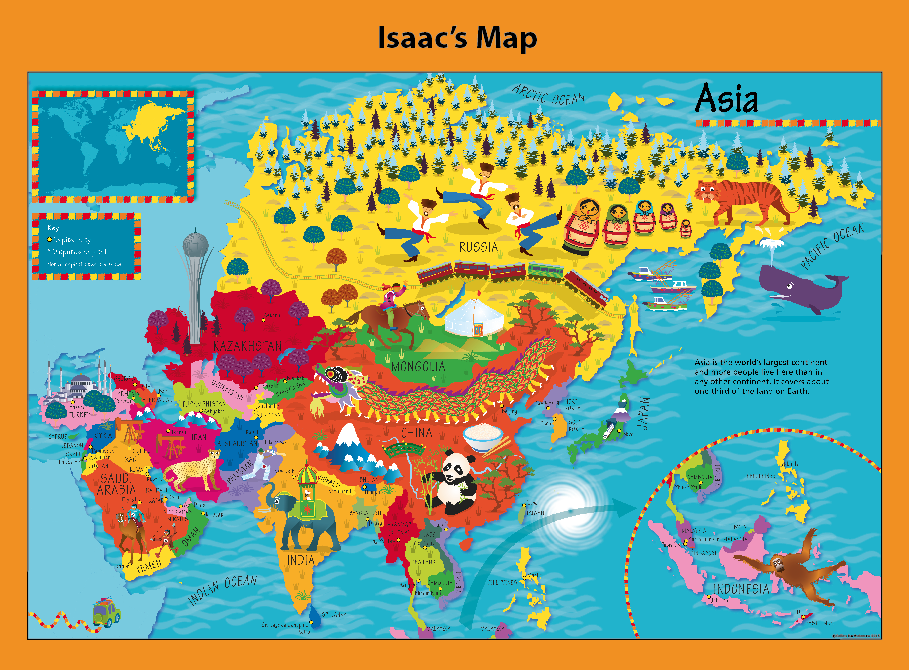 Personalised Children's Picture Asia Map